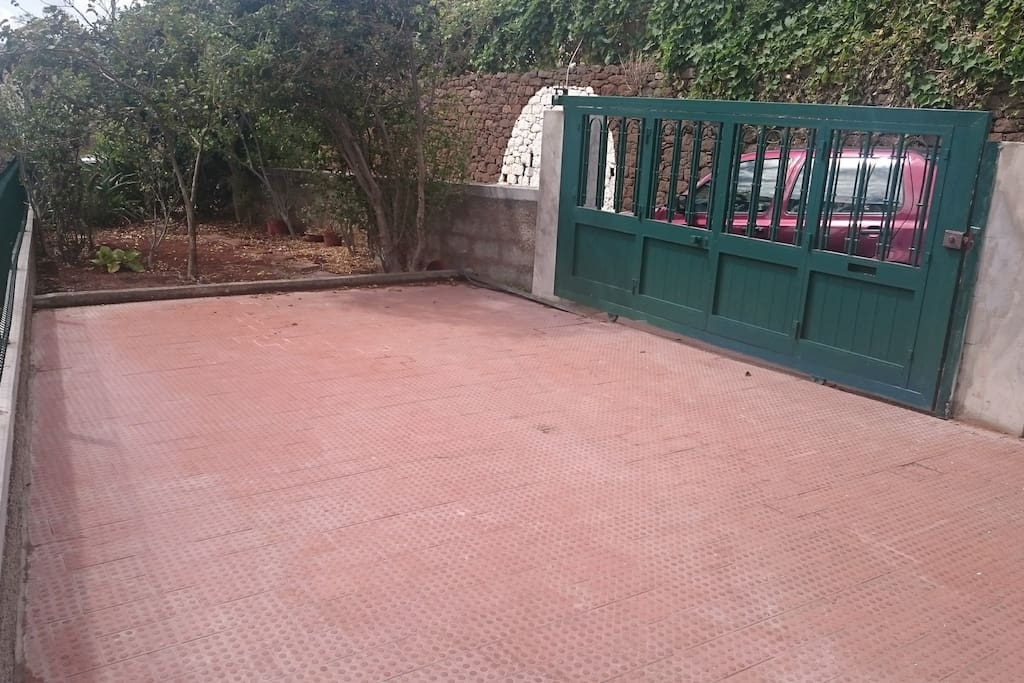 Driveway with electric gate