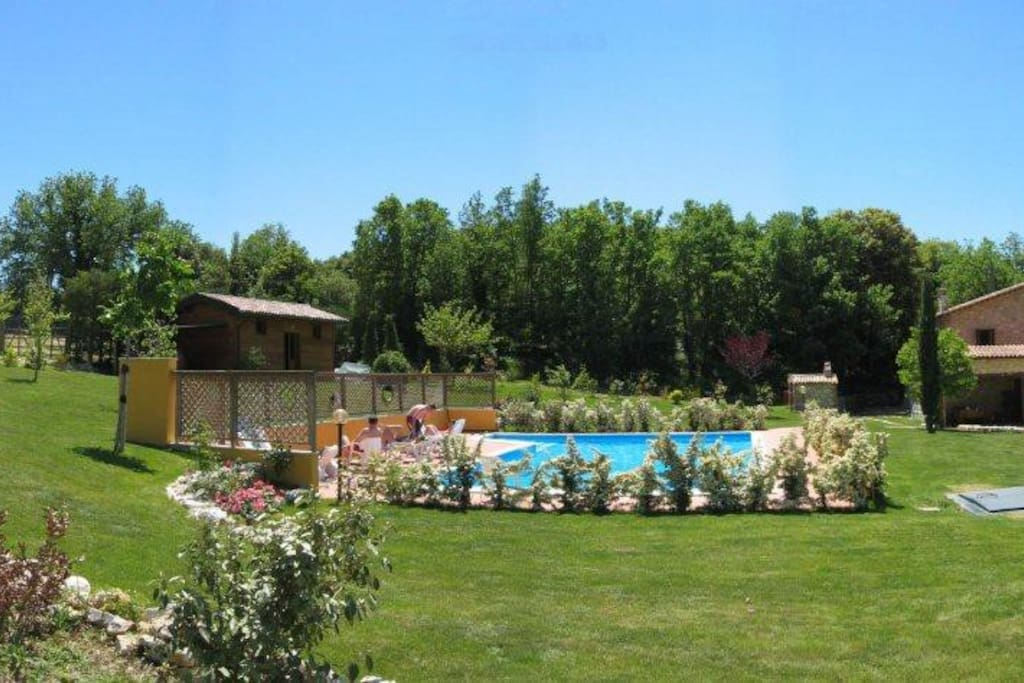 Relaxing at the pool amongst the green umbrian nature.