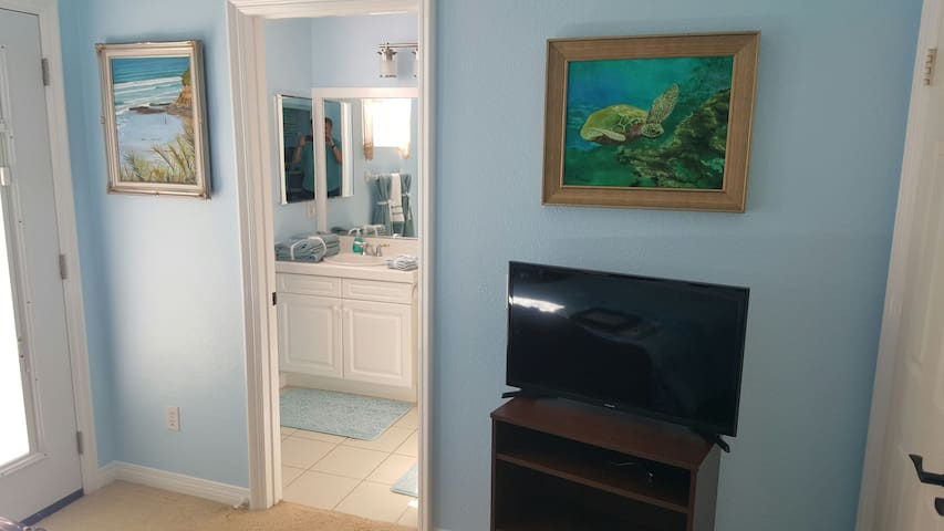 CABLE TV, Hand painted artwork and Spaciousness in the bathroom