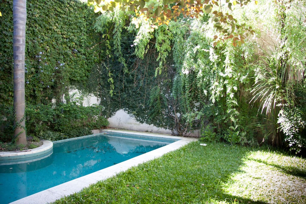 Garden with lots of green and Parilla/BBQ