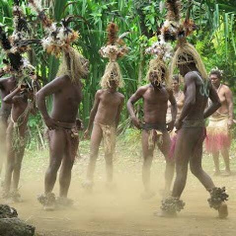 The famous Nemi Gortien Sier small nambas at Rano main land. Men dance in beat of tamtam