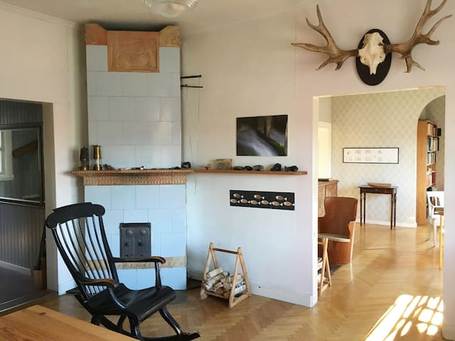 View from living-room to drawing-room. Fish bone parquet floor and jugend style fireplace.