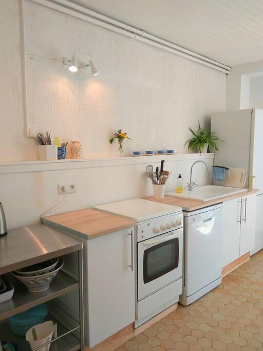 The fresh white kitchen.