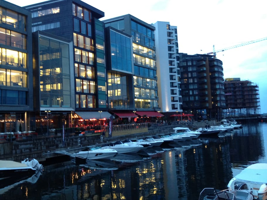 Restaurants and Bars alongside the canal. the apartment at the right end