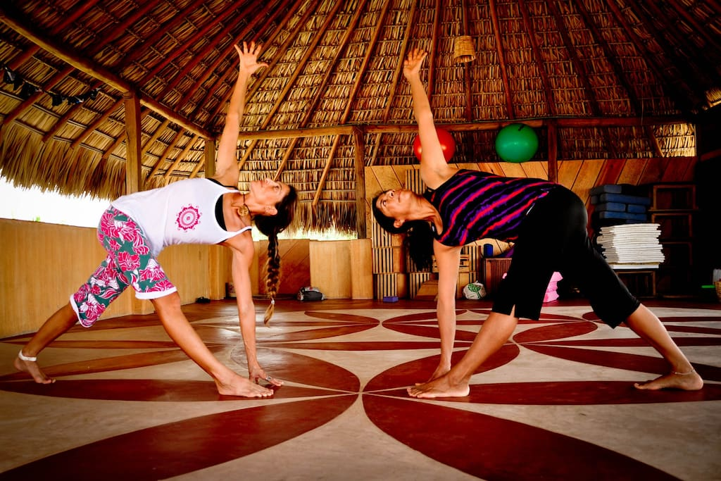 Yoga upstairs under Palapa, with a great Ocean View