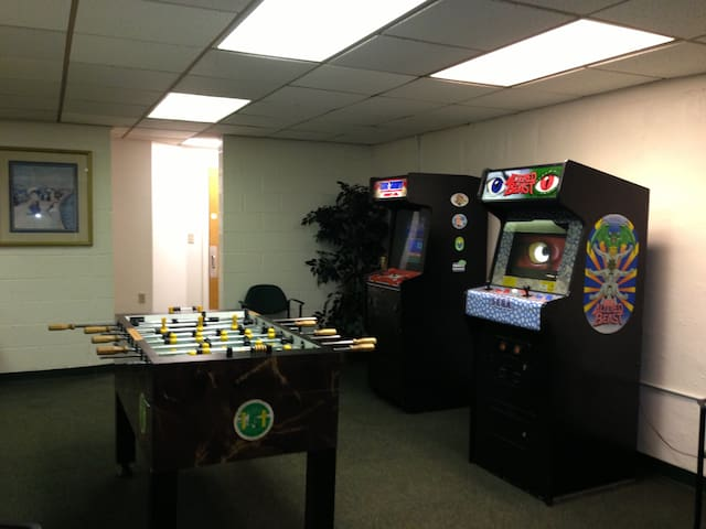 Small game room in bottom floor of building