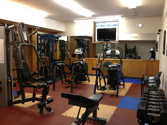 Fitness Center in bottom floor of building