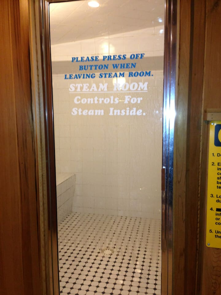 Steam Room, in bottom floor of building, do not have to walk outside!!