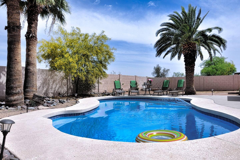 Backyard, pool area.