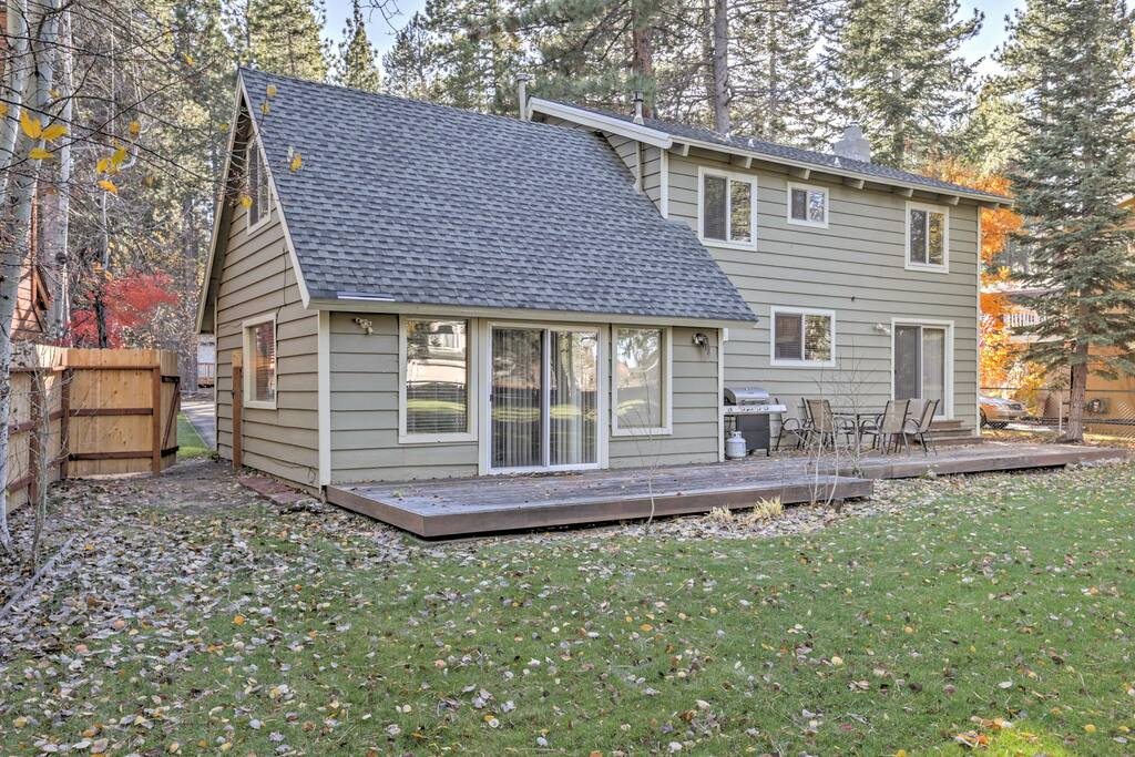 This 3-bedroom, 2-bath home features a furnished deck looking out on the yard.