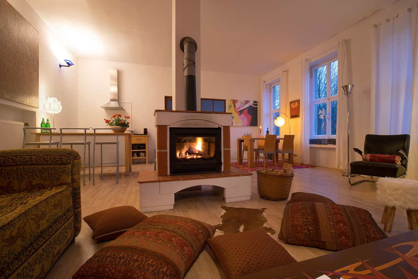 your main room and the place in front of the fire