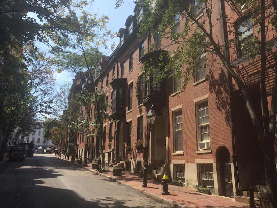 Quiet, classic Beacon Hill street, around the corner from the State House. Stay in our brown stone building