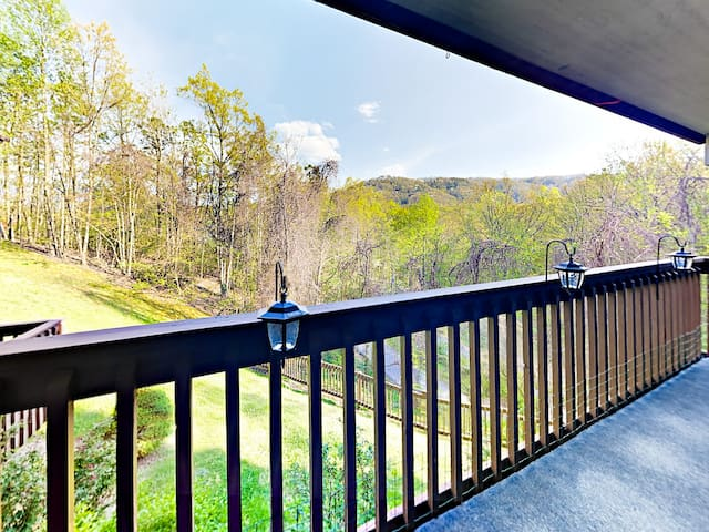 Views of the Smoky Mountains greet you on the spacious balcony.