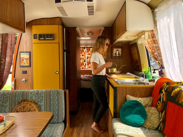 70s retro RV Near Lake, Artist Glamping  Gem