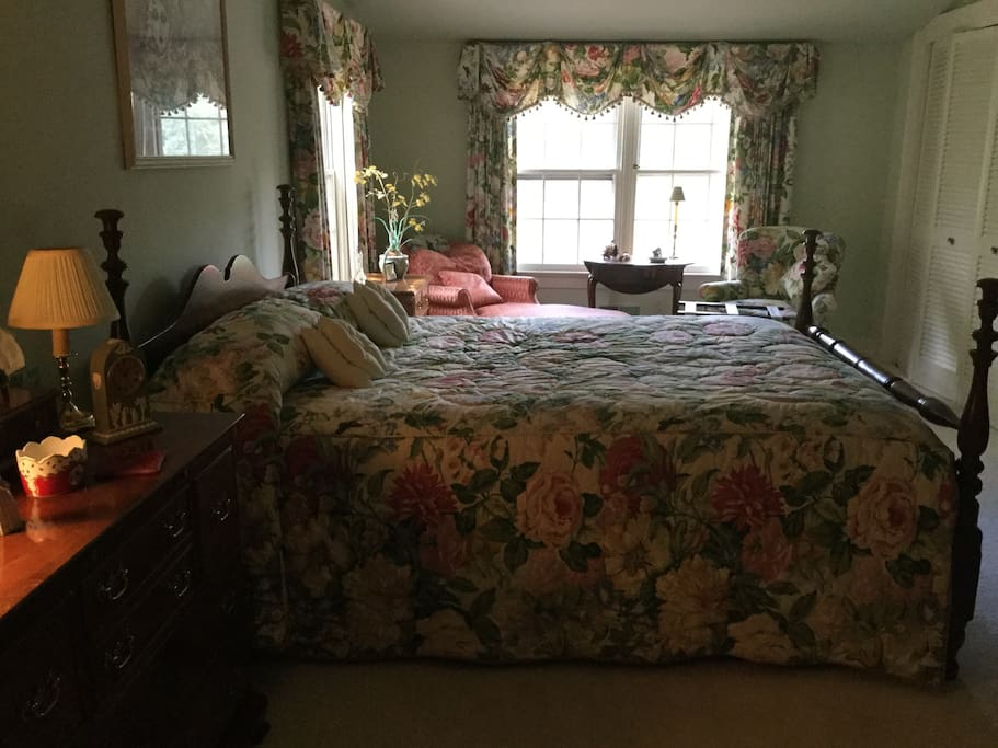Beautiful private room with queen bed and view of the pond