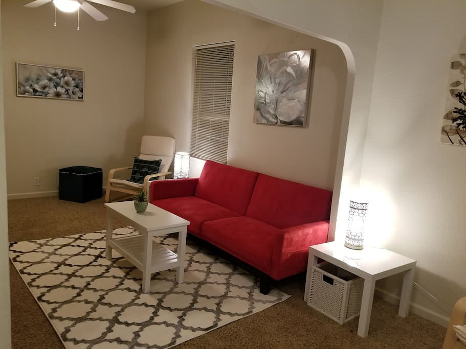 Shared living space with plenty of seating.