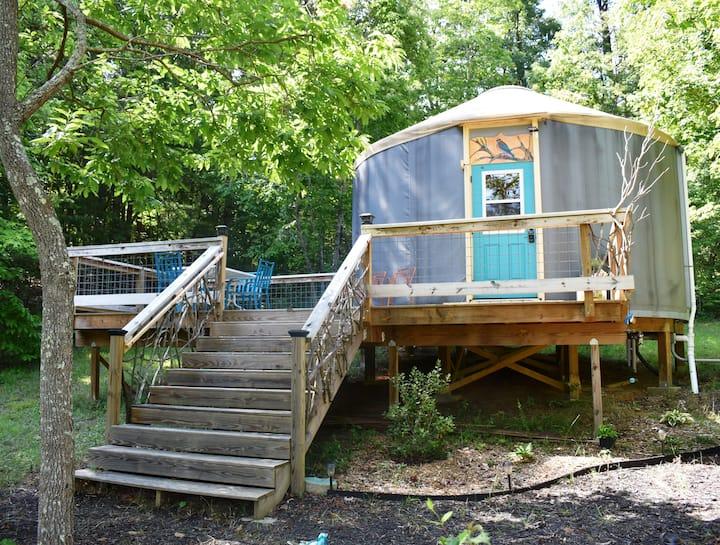 The BlueBird Yurt at Feathered Fox Farm®