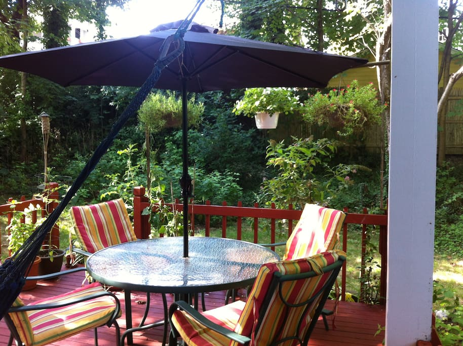 Sunny back deck with hammock, table and chairs in a large shady yard