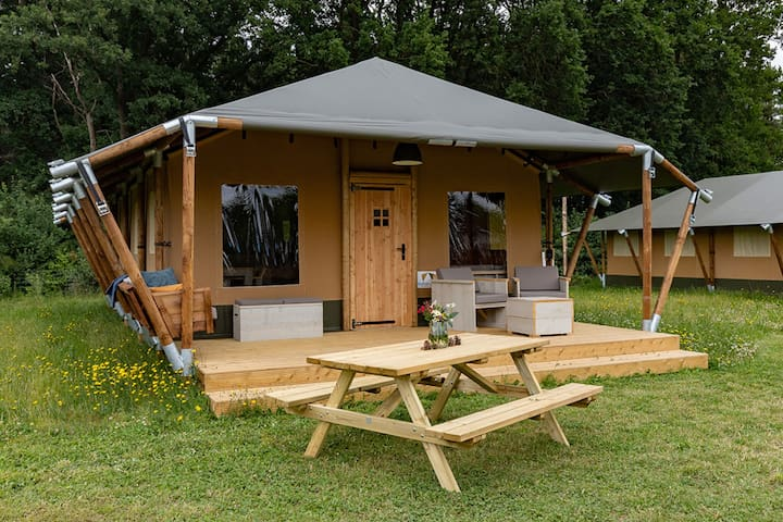 Alluring Tent Lodge in Alphen with Hot Tub and Garden