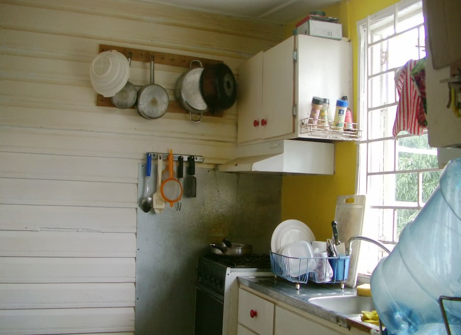 Kitchen shared with mountain view