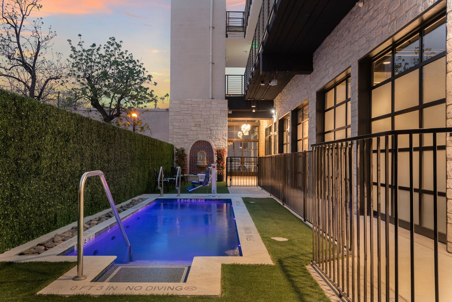 Open your doors to the pool and champagne fountain. Pls note this area is shared amongst 5 units. There are grills as well!