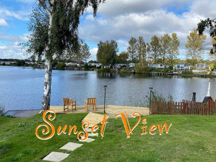 Sunset View Caravan Lakeside with Own Fishing Peg