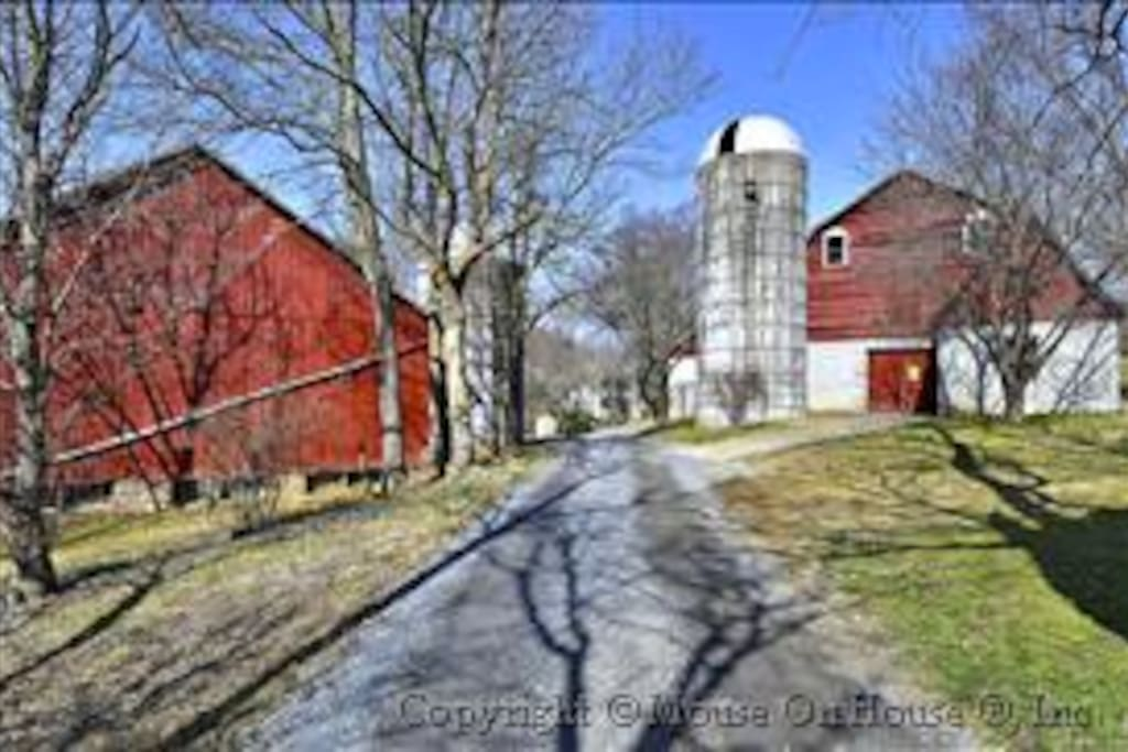Two barns and two silos for exploring.