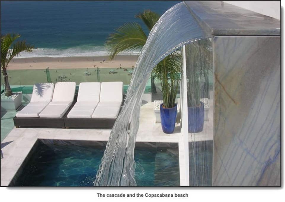Copacabana Terrace : the cascade and your private swiming pool in blue marble www . copacabanaterrace . com