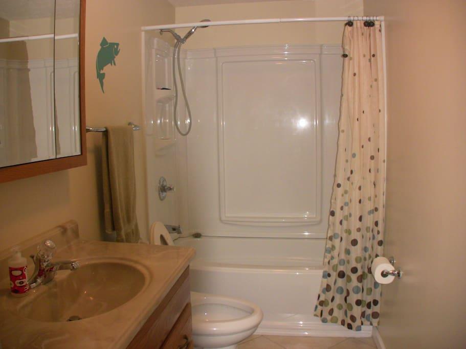 Spacious tub/shower combo bathroom