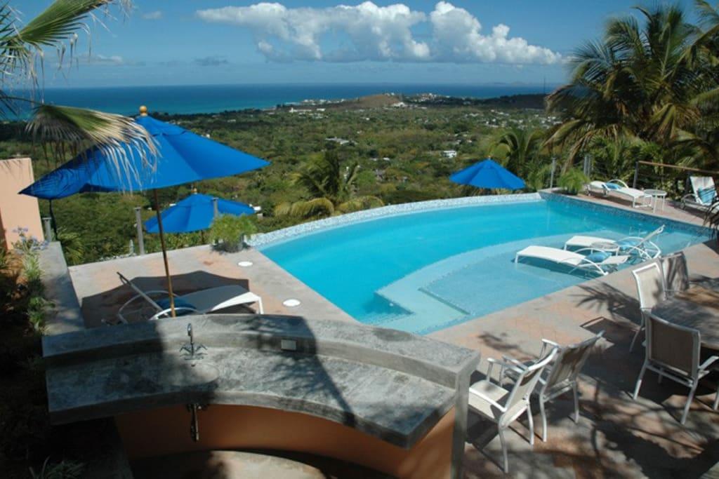 Our spectacular infinity pool deck overlooking the Atlantic Ocean.