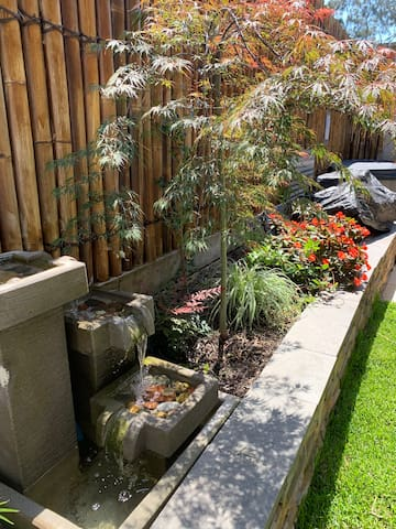 Backyard lovely garden featuring a water feature. Outdoor spa and outdoor toilet and shower