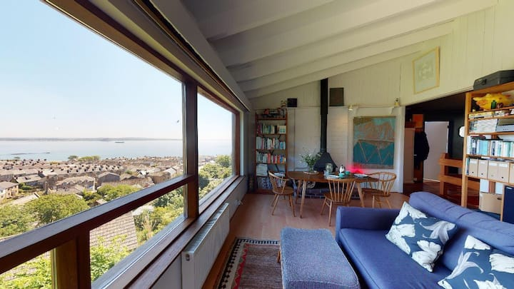 Midcentury home with sweeping views across the bay