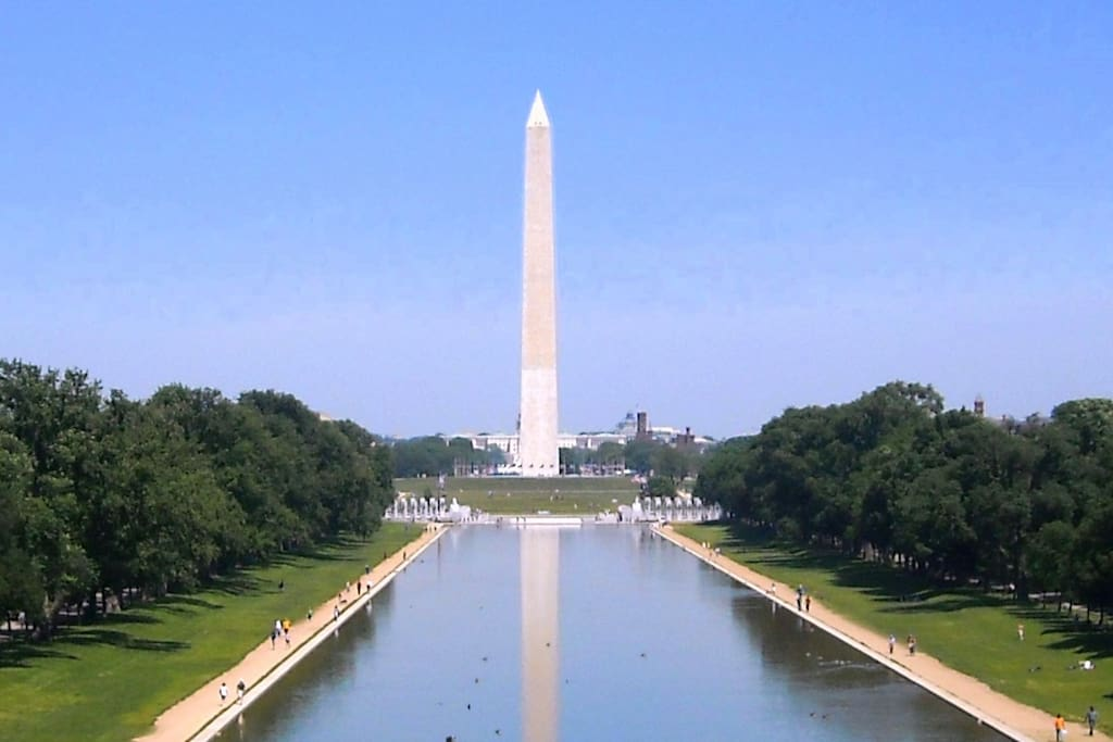 Washington Monument and reflecting pool. Only 15 minutes away, or a bit longer with some traffic.