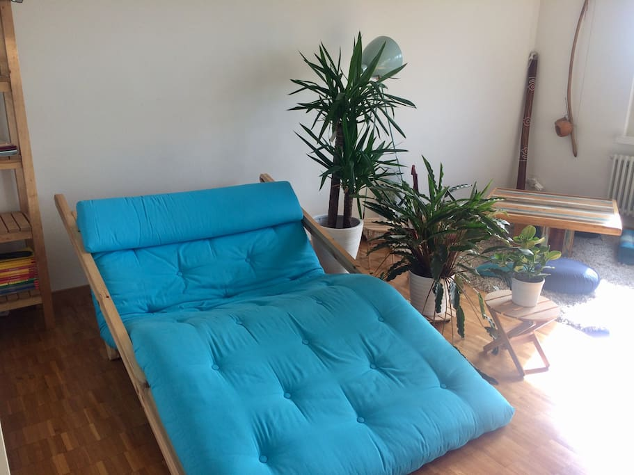 The living room has a futon lounge sofa (instead of office table since 5.9)