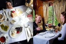 30 minutes by car: Dine in options are also available on the Puffing Billy Railway Belgrave while you journey through the Forrest of the Dandenong Ranges.