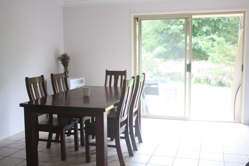Dining area with sliding doors to patio