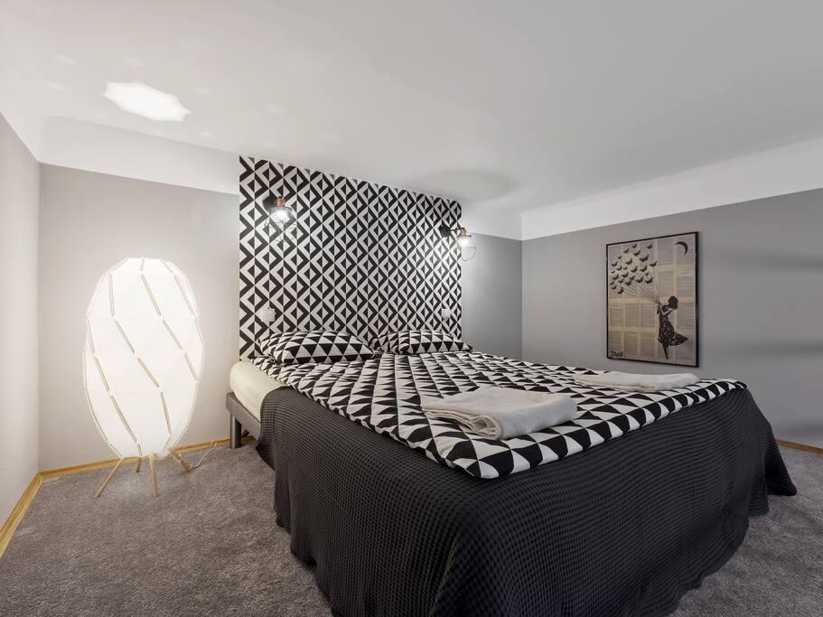 bed on the mezzanine.