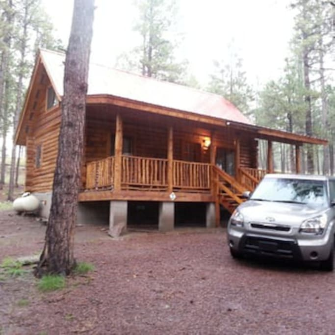 The outside front of the cabin