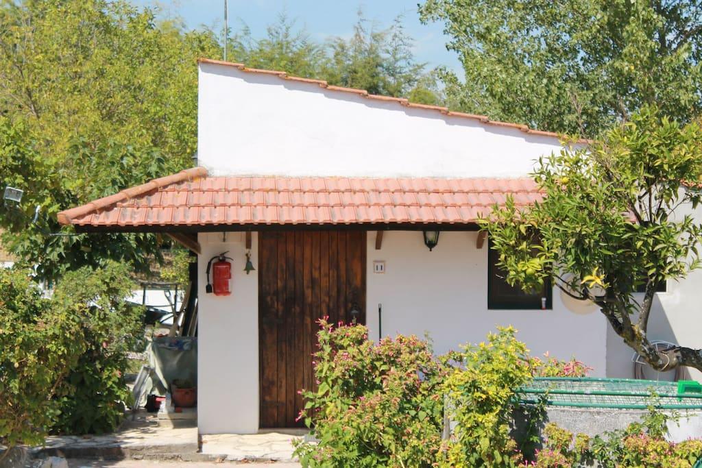 Exterior da casa perto da piscina, rodeada pelas arvores de fruto, barbecue e baloiços.