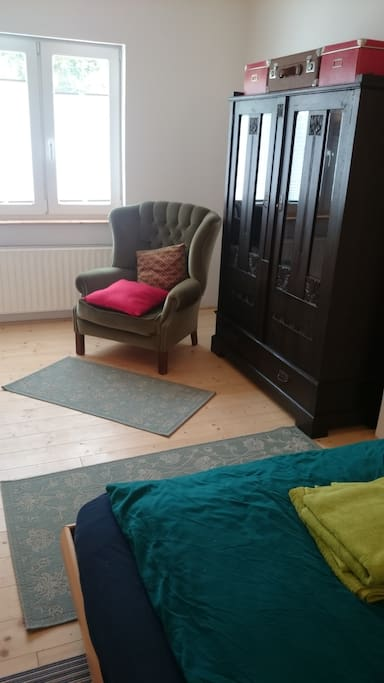 armchair with wardrobe
