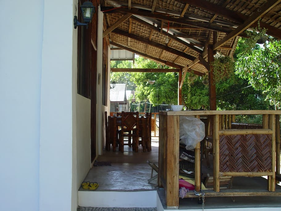the terrace where food is served  and resting place