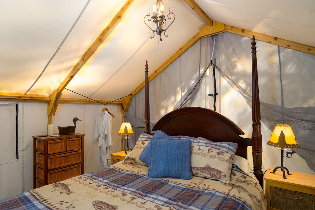 A spotless glamping tent, Romantic...