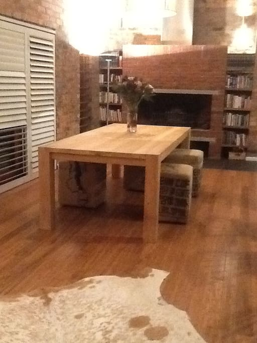 Dinner table with fireplace