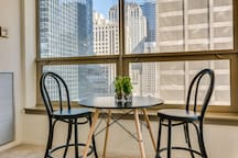 Enjoy your morning coffee with a city view