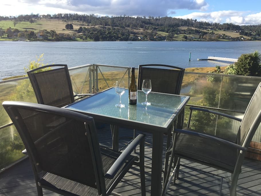 Front deck overlooking the beautiful Tamar River