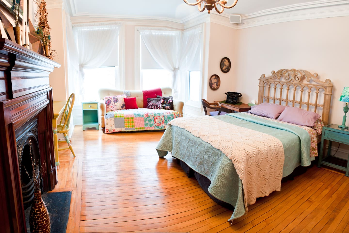 """""""The Chartreuse"""" Big Bright and Lovely, furnished with queen bed, sofa and desk"""