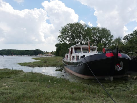 Houseboat on the lovely River Orwell, Suffolk
