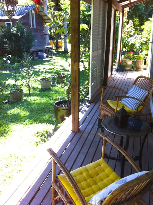 Relax on the deck with a coffee (we supply) or a glass of wine (BYO!)