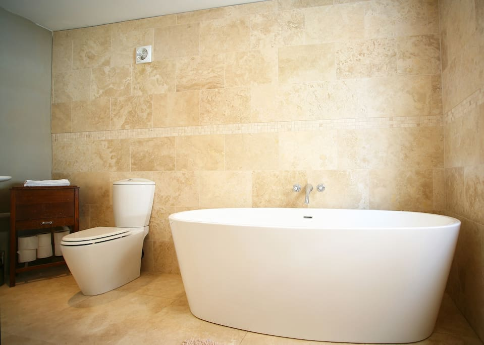 Enjoy a big bath during your stay with epsom sea salts and melt away stress while you stay at this apartment