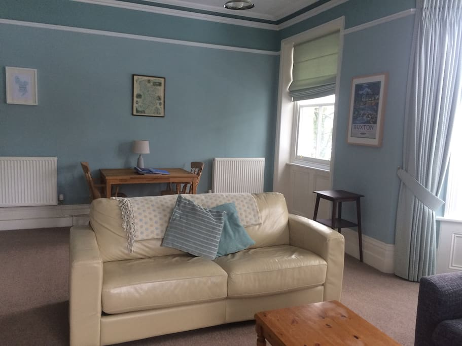 Other side of the large lounge, showing the small sofa which is also a sofa bed.
